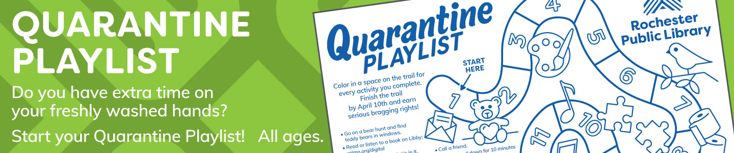 green banner showing a copy of the Quarantine Playlist